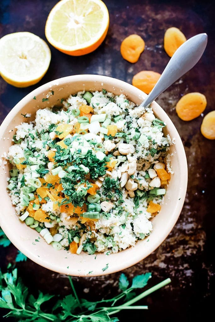 Cauliflower couscous salad with dried apricots and cashews from above.