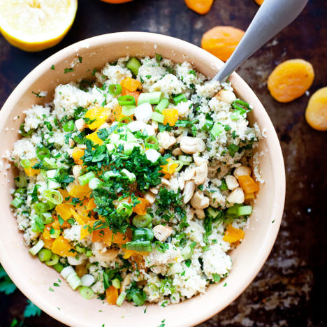 Cauliflower Couscous Salad with Apricots and Cashews | Loveleaf Co. | loveleafco.com