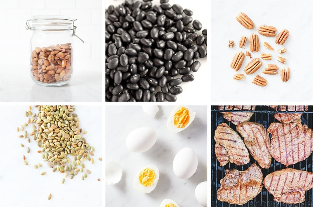 Healthy protein options in a grid.
