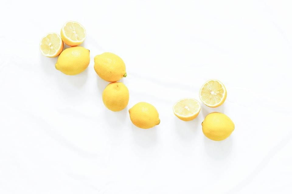 Lemons on a white background.