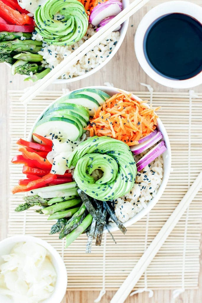 Sushi salad in bowl from above with avocado rose.
