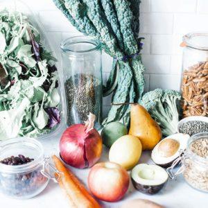 Fresh produce on a white background.