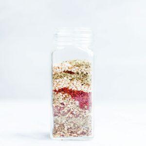 Spice jar full of homemade za'atar.