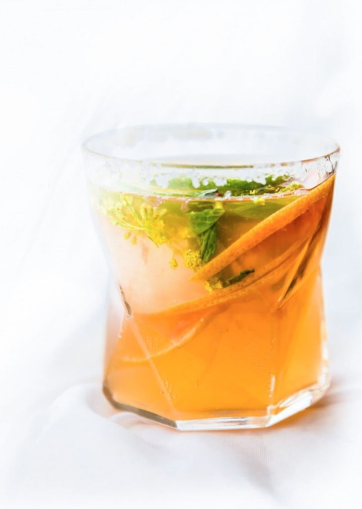 Kombucha cocktails in a glass.