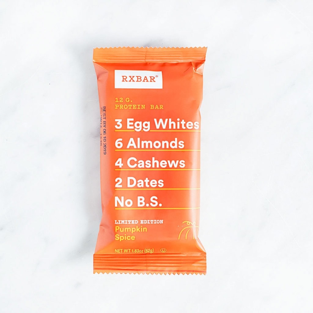 Pumpkin spice RX Bar on a white background.