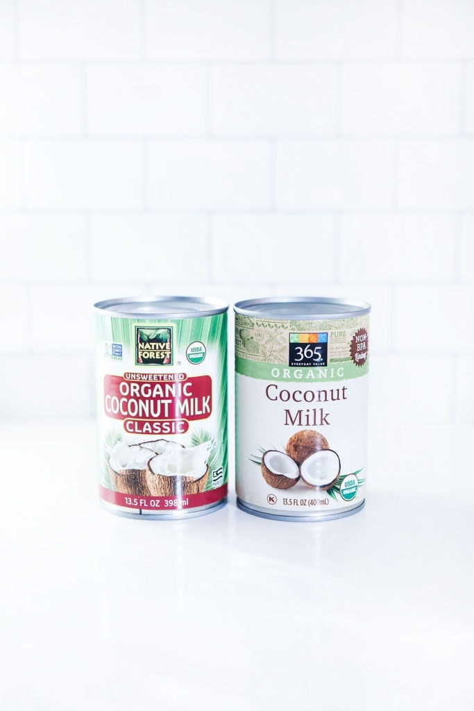 Cans of coconut milk for making coconut whipped cream.