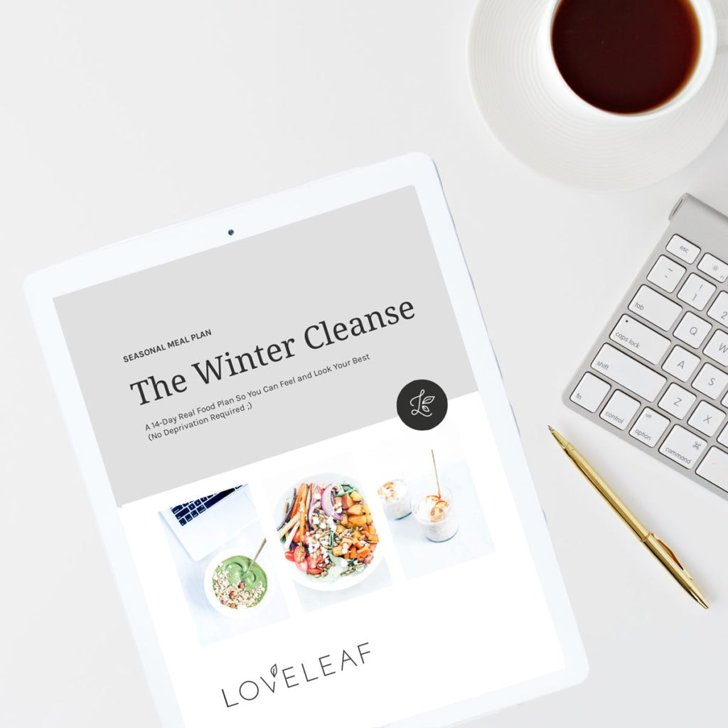 The Loveleaf Co. Winter Cleanse on a white iPad.
