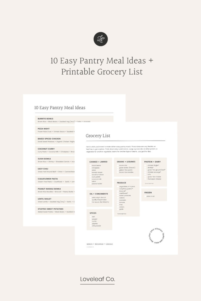 10 easy pantry meal ideas printable.