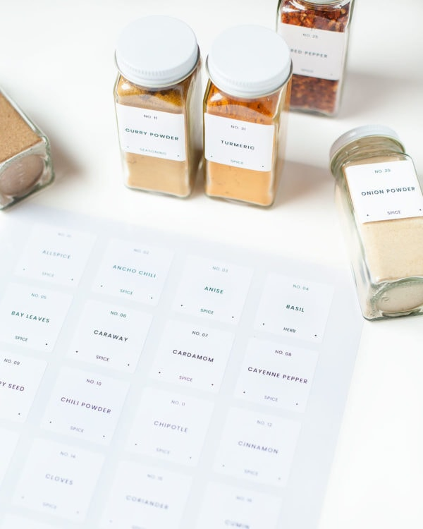 Printed spice labels with spice jars.
