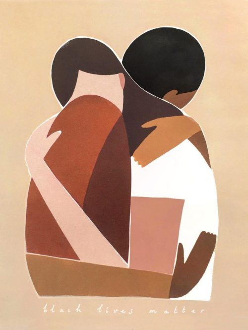Artwork of a white person and black person hugging.