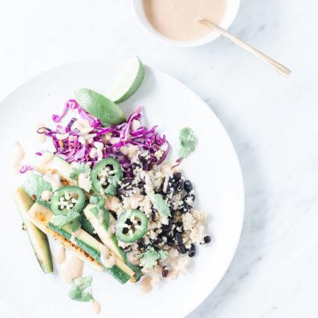 Black Bean Zucchini Bowls with Chipotle-Tahini Sauce